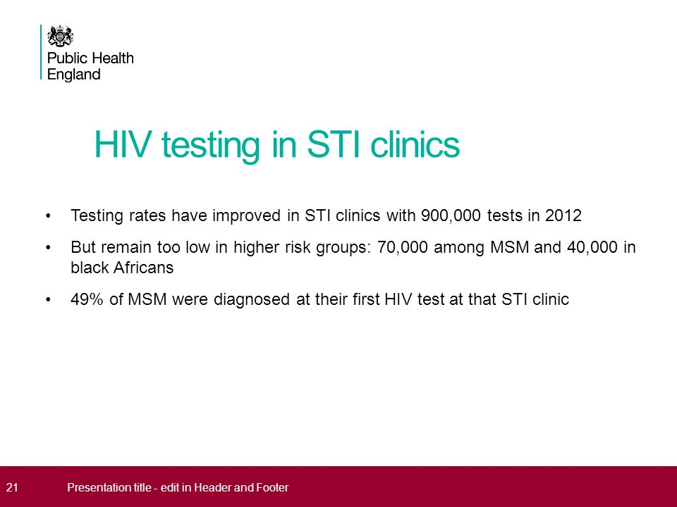 HIV testing in STI clinics Testing rates have improved in STI clinics with 900,000 tests in 2012 But remain too low in higher risk groups: 70,000 amon