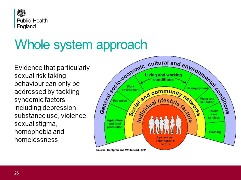 Whole system approach Evidence that particularly sexual risk taking behaviour can only be addressed by tackling syndemic factors including depression,