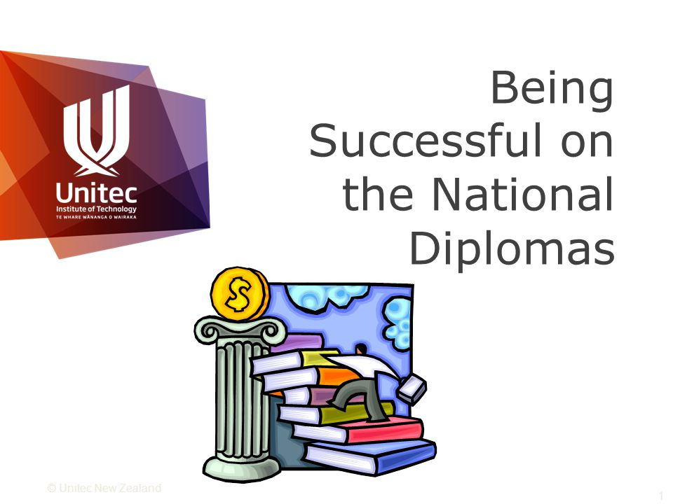 © Unitec New Zealand 1 Being Successful on the National Diplomas