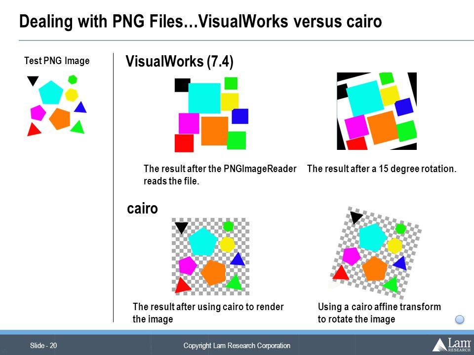 Copyright Lam Research Corporation Slide - 20 (v7) Dealing with PNG Files…VisualWorks versus cairo Test PNG Image The result after the PNGImageReader reads the file.