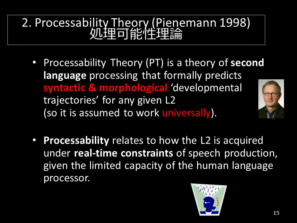 15 2. Processability Theory (Pienemann 1998) 処理可能性理論 Processability Theory (PT) is a theory of second language processing that formally predicts synta