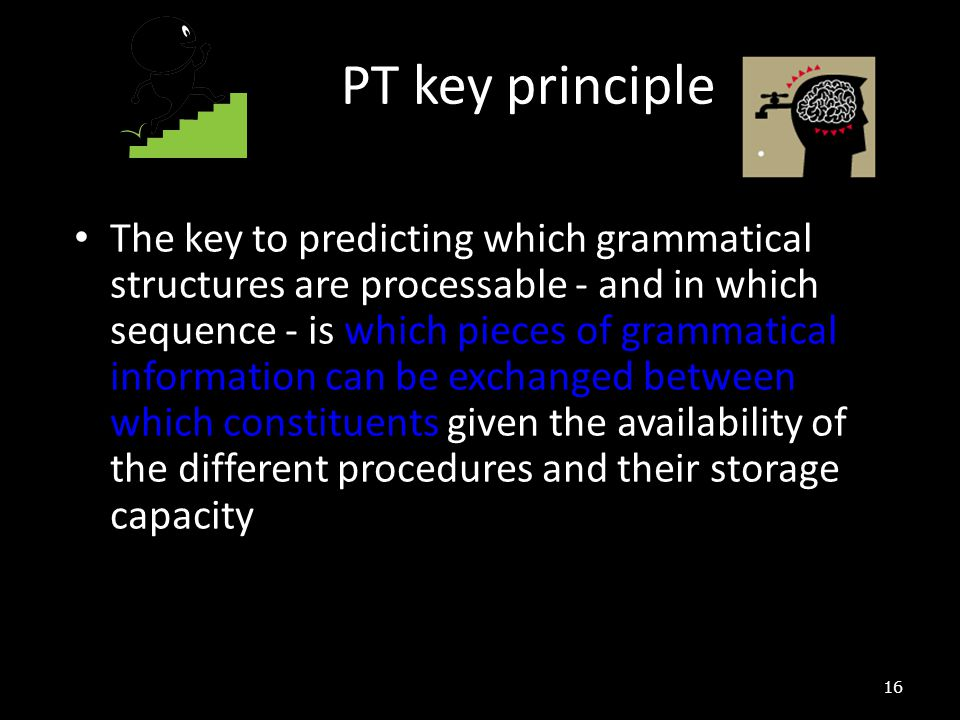 16 The key to predicting which grammatical structures are processable - and in which sequence - is which pieces of grammatical information can be exch
