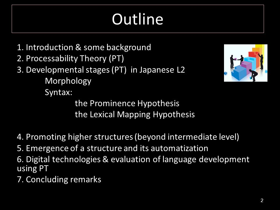 Outline 1. Introduction & some background 2. Processability Theory (PT) 3. Developmental stages (PT) in Japanese L2 Morphology Syntax: the Prominence
