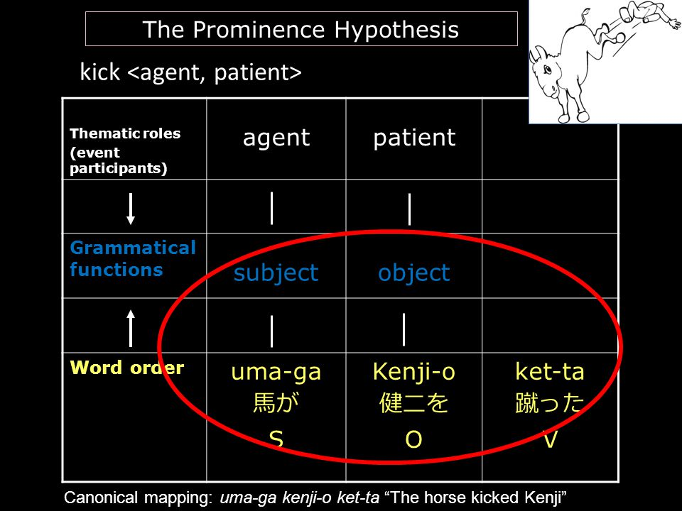 kick Thematic roles (event participants) agentpatient Grammatical functions subjectobject Word order uma-ga 馬が S Kenji-o 健二を O ket-ta 蹴った V 35 The Pro