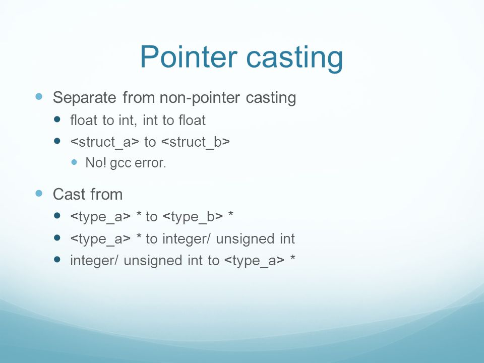 Pointer casting Separate from non-pointer casting float to int, int to float to No.