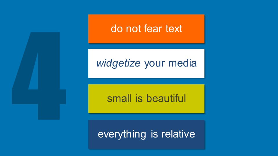 4 do not fear text widgetize your media small is beautiful everything is relative