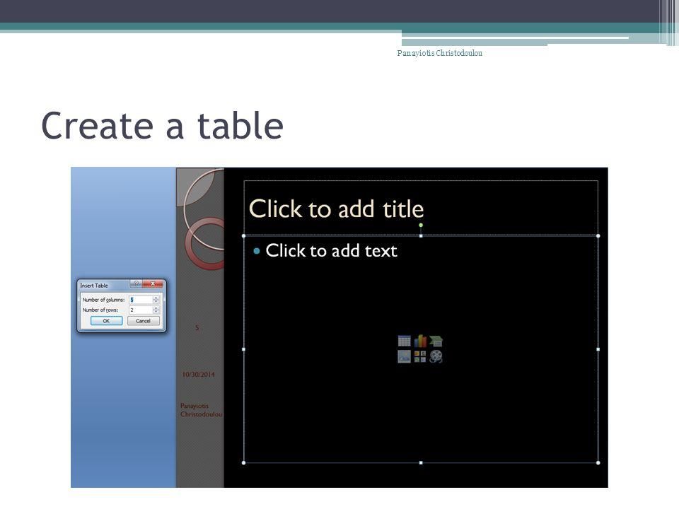 Create a table Panayiotis Christodoulou