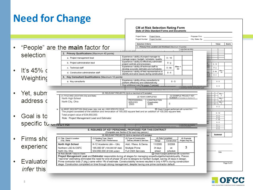 9 Changes to the Document Summary of Revisions Clarified Instructions Modified Resume Sheet Enhanced Sample Project Descriptions Provided Optional ways for using Forms Recommended Organization of Section H Added Disclosure of Past Performance