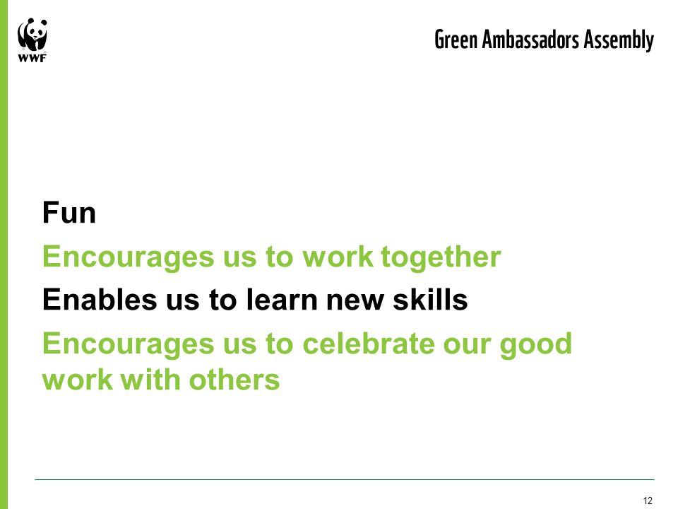 Fun Encourages us to work together Enables us to learn new skills Encourages us to celebrate our good work with others Green Ambassadors Assembly 12