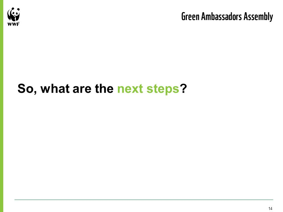 So, what are the next steps? Green Ambassadors Assembly 14