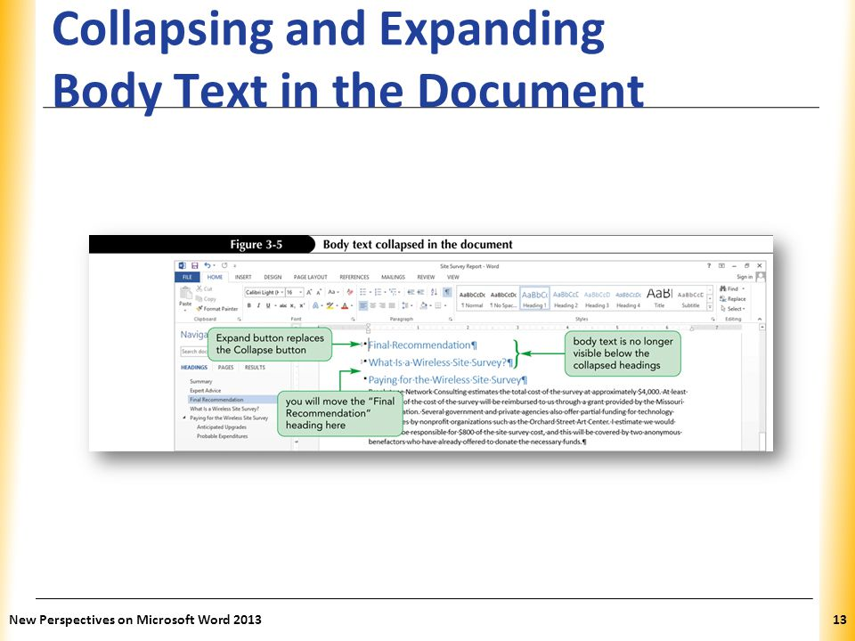 XP Collapsing and Expanding Body Text in the Document New Perspectives on Microsoft Word 201313