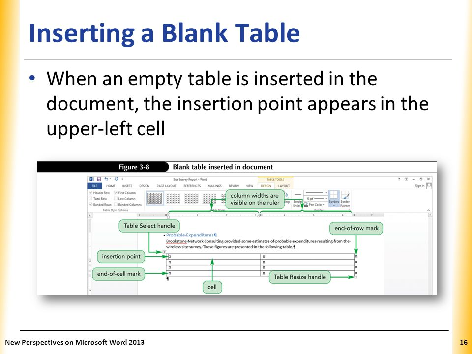 XP Inserting a Blank Table When an empty table is inserted in the document, the insertion point appears in the upper-left cell New Perspectives on Mic