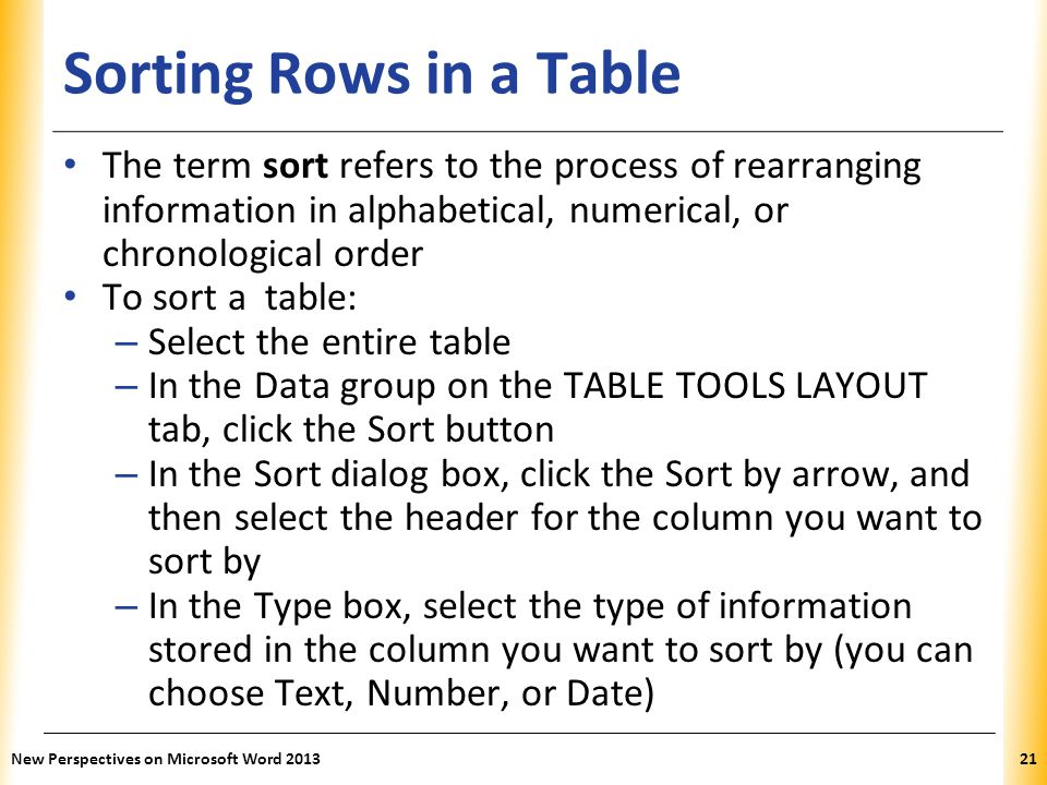 XP Sorting Rows in a Table The term sort refers to the process of rearranging information in alphabetical, numerical, or chronological order To sort a