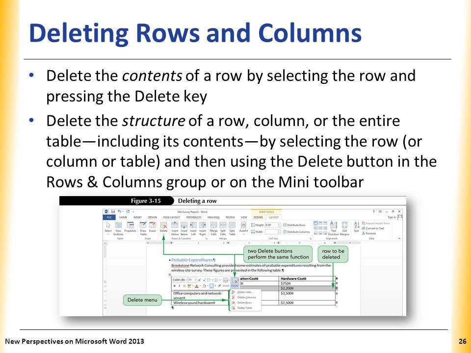 XP Deleting Rows and Columns Delete the contents of a row by selecting the row and pressing the Delete key Delete the structure of a row, column, or t