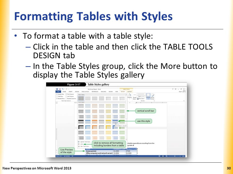 XP Formatting Tables with Styles To format a table with a table style: – Click in the table and then click the TABLE TOOLS DESIGN tab – In the Table S