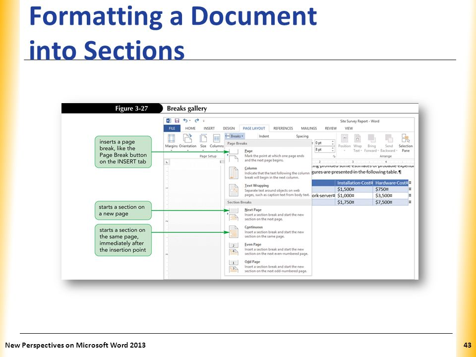 XP Formatting a Document into Sections New Perspectives on Microsoft Word 201343