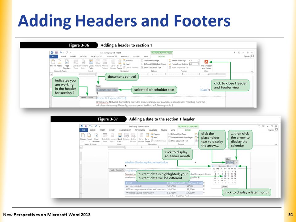 XP Adding Headers and Footers New Perspectives on Microsoft Word 201351