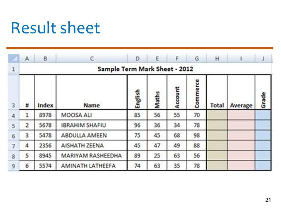 Result sheet 21