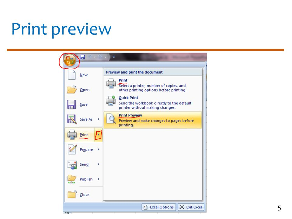 Print preview toolbar 6 Print Print dialog box will open Zoom Increase or decrease the page view in percentage Show margins Click to view page margins