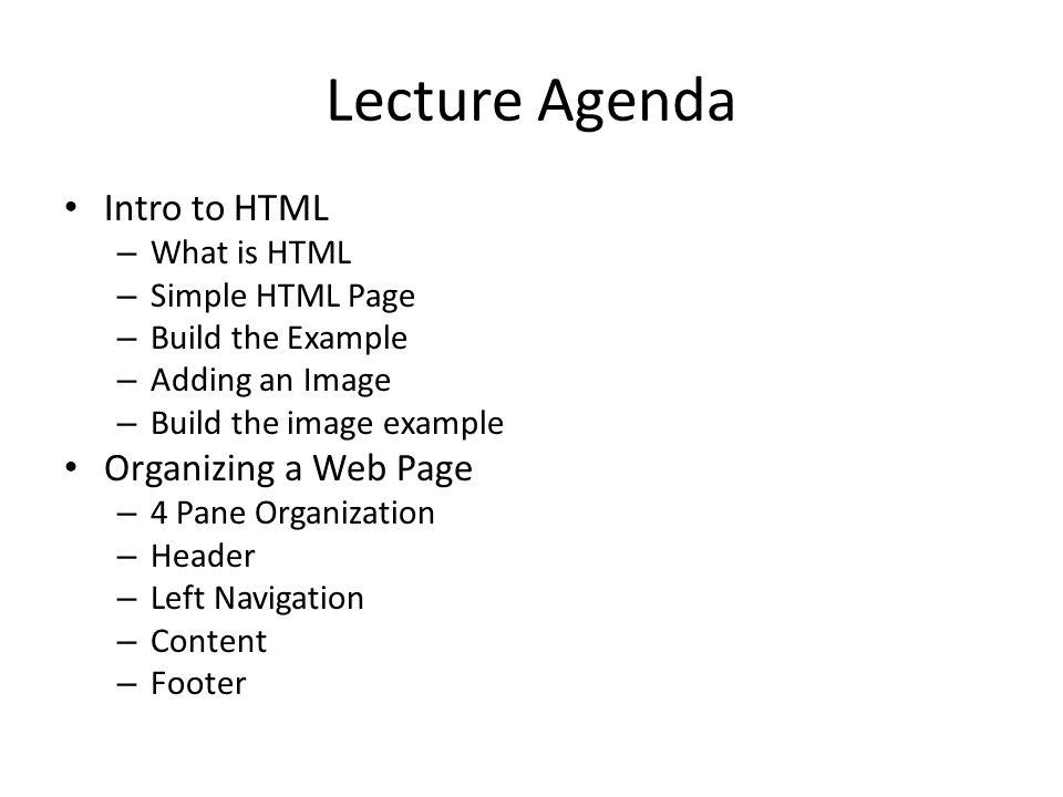 Organizing a Web Page