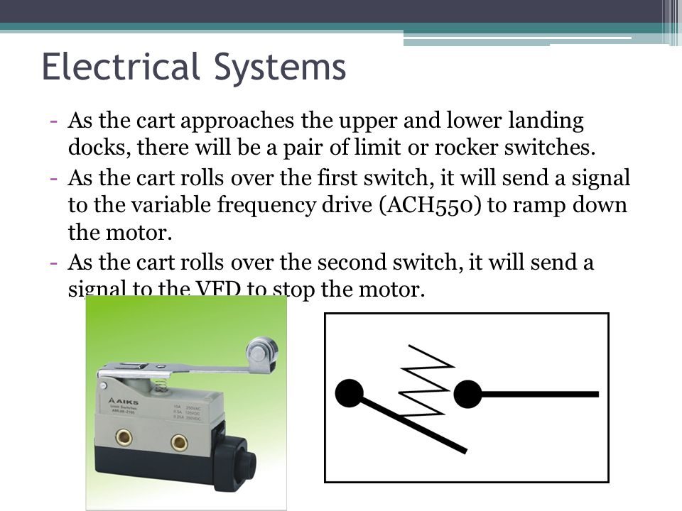 Electrical Systems -As the cart approaches the upper and lower landing docks, there will be a pair of limit or rocker switches.