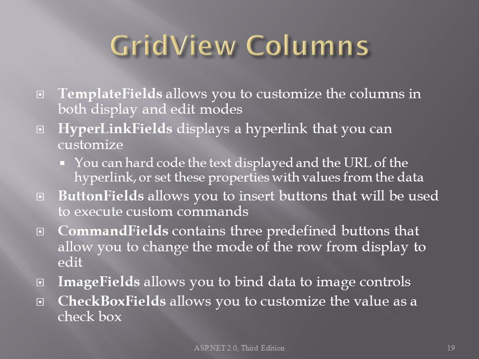  TemplateFields allows you to customize the columns in both display and edit modes  HyperLinkFields displays a hyperlink that you can customize  Yo