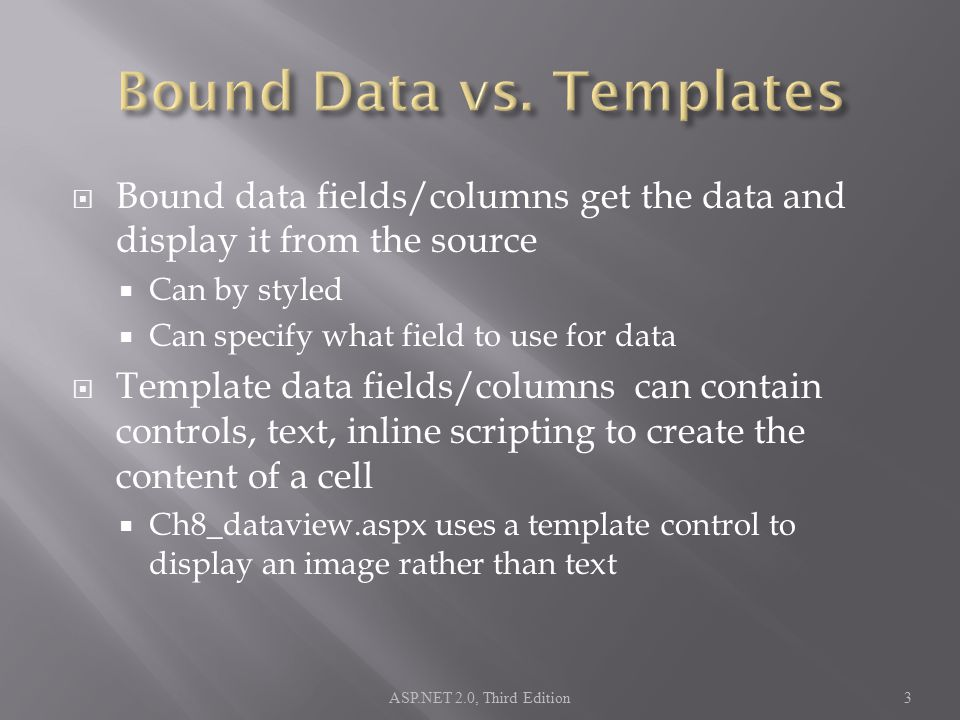 Bound data fields/columns get the data and display it from the source  Can by styled  Can specify what field to use for data  Template data fields/columns can contain controls, text, inline scripting to create the content of a cell  Ch8_dataview.aspx uses a template control to display an image rather than text ASP.NET 2.0, Third Edition3