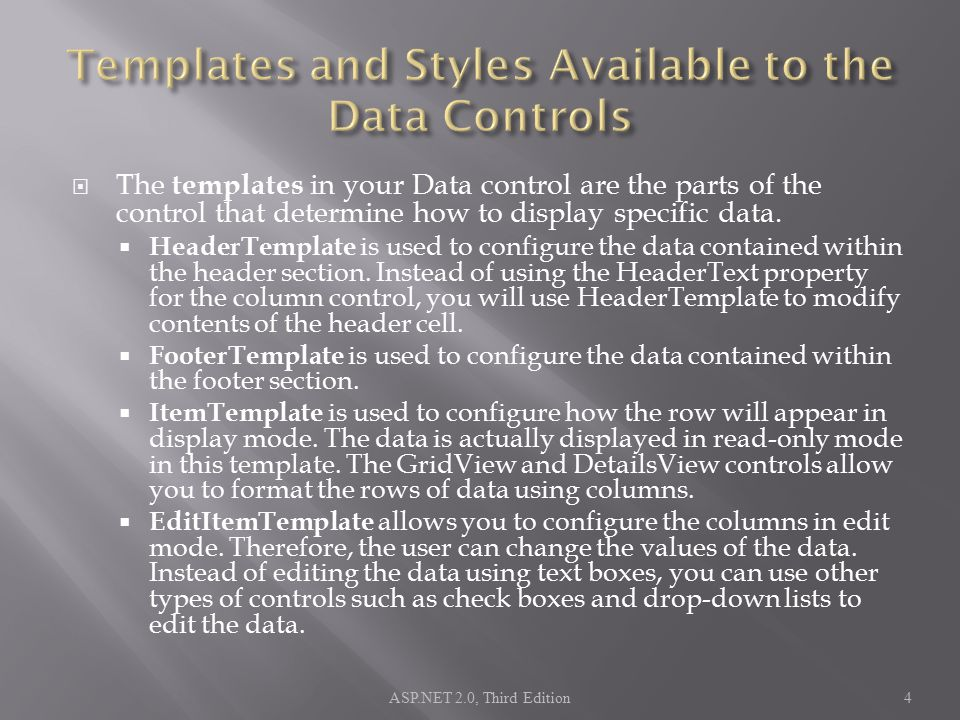  The templates in your Data control are the parts of the control that determine how to display specific data.