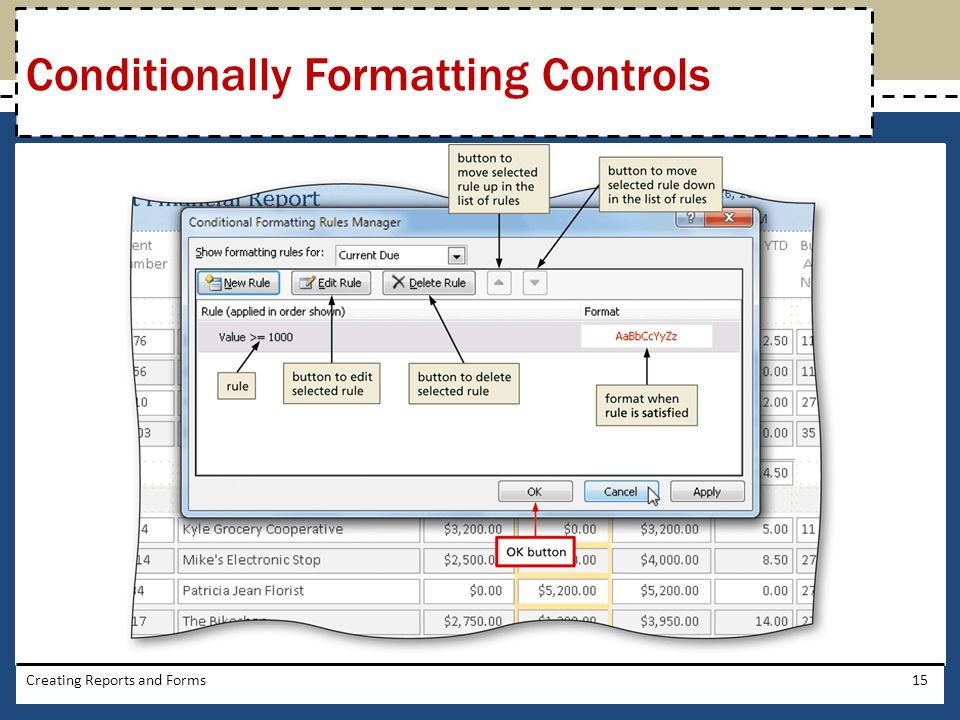 Creating Reports and Forms15 Conditionally Formatting Controls