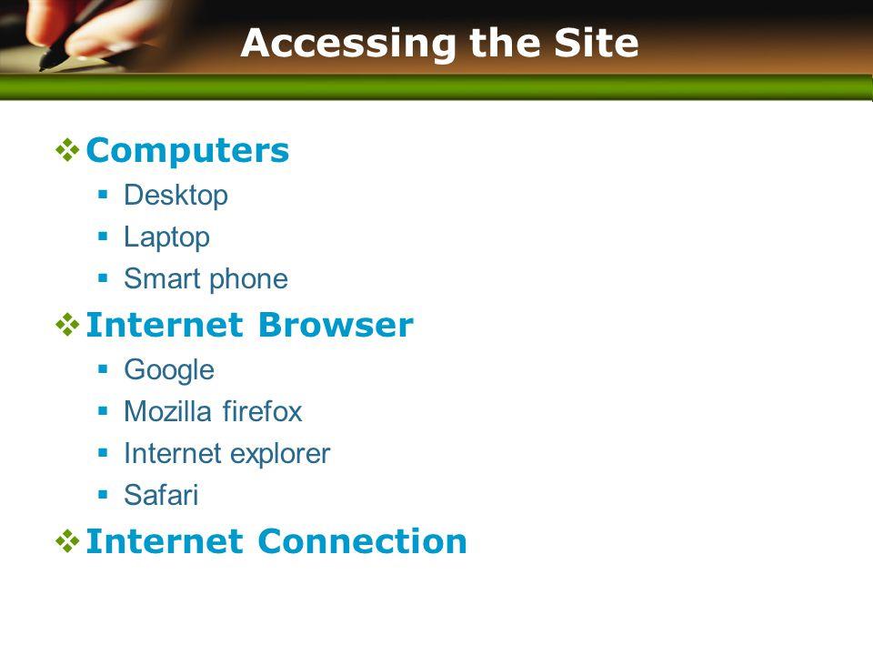 www.themegallery.com Accessing the Site  Computers  Desktop  Laptop  Smart phone  Internet Browser  Google  Mozilla firefox  Internet explorer  Safari  Internet Connection