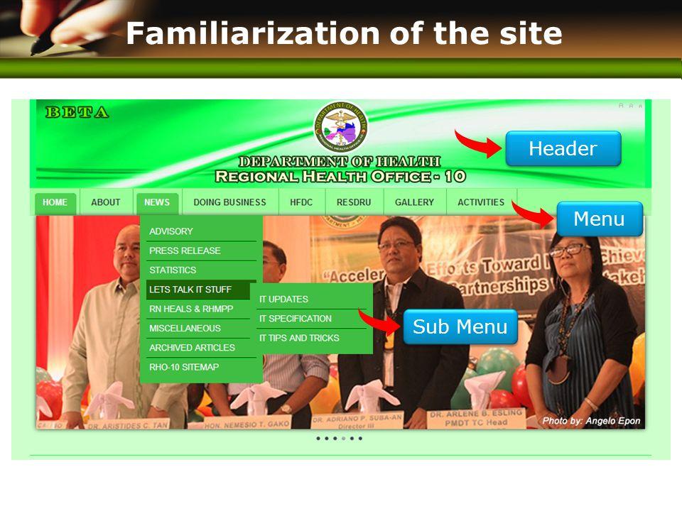 www.themegallery.com Familiarization of the site Header Menu Sub Menu