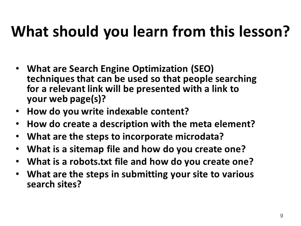 Lesson 14 - Unit N Optimizing Your Web Site for Search Engines
