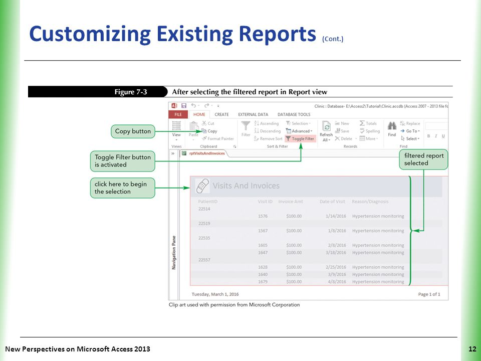 XP Customizing Existing Reports (Cont.) New Perspectives on Microsoft Access 201312