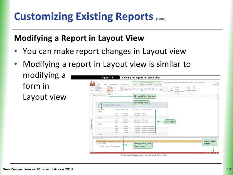 XP Customizing Existing Reports (Cont.) New Perspectives on Microsoft Access 201313 Modifying a Report in Layout View You can make report changes in L