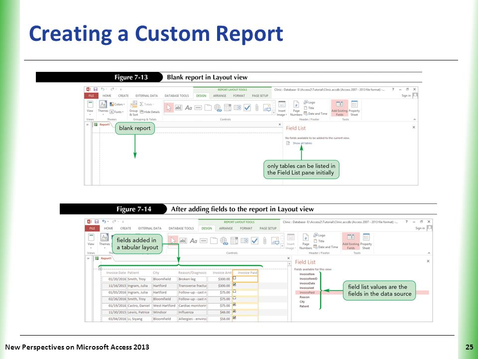 XP Creating a Custom Report New Perspectives on Microsoft Access 201325