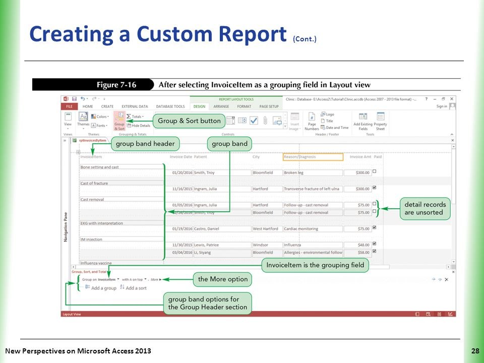 XP Creating a Custom Report (Cont.) New Perspectives on Microsoft Access 201328