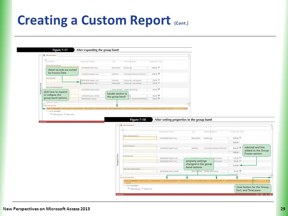 XP Creating a Custom Report (Cont.) New Perspectives on Microsoft Access 201329