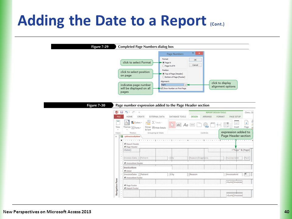 XP Adding the Date to a Report (Cont.) New Perspectives on Microsoft Access 201340