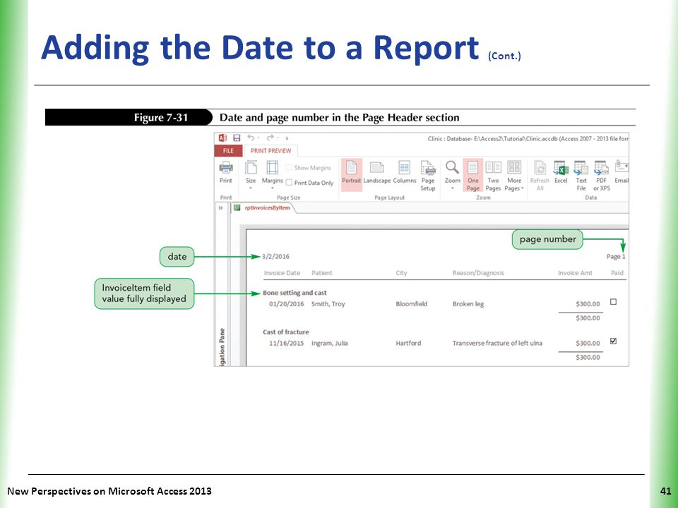 XP Adding the Date to a Report (Cont.) New Perspectives on Microsoft Access 201341