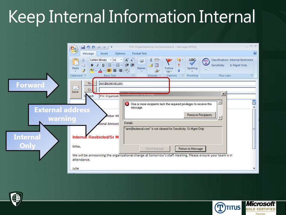Forward External address warning Internal Only