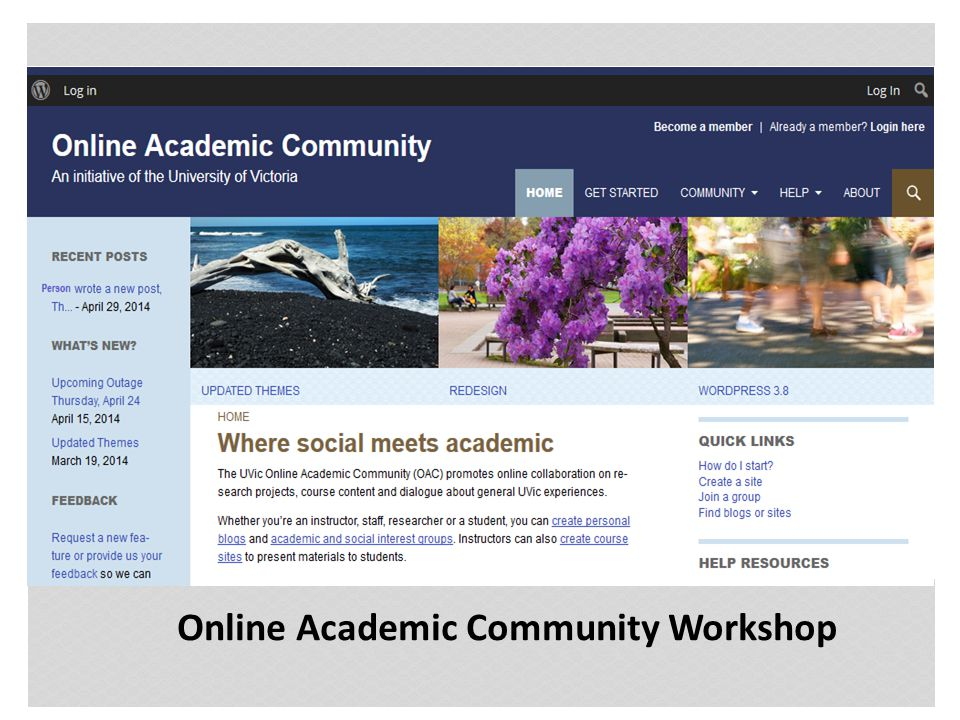 Customizing Your Profile Click on your My Sites tab in the top left corner From the drop-down, select Online Academic Site and then click Visit Site AGENDA Getting Started