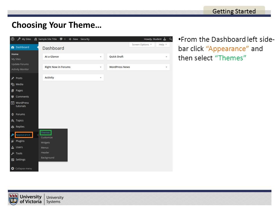 Choosing Your Theme… From the Dashboard left side- bar click Appearance and then select Themes AGENDA Getting Started