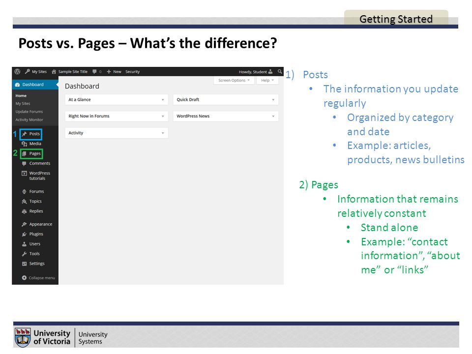 Posts vs. Pages – What's the difference.