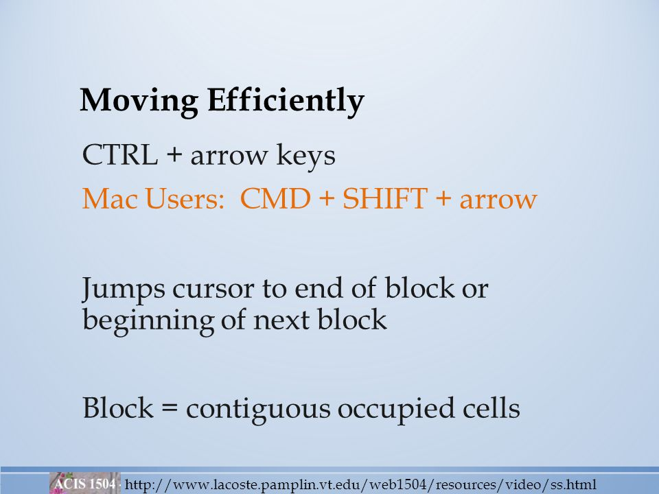 Moving Efficiently CTRL + arrow keys Mac Users: CMD + SHIFT + arrow Jumps cursor to end of block or beginning of next block Block = contiguous occupied cells http://www.lacoste.pamplin.vt.edu/web1504/resources/video/ss.html