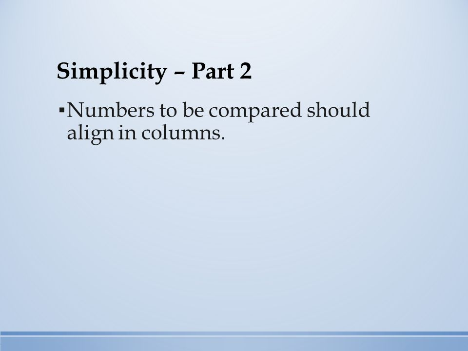 Simplicity – Part 2 ▪ Numbers to be compared should align in columns.