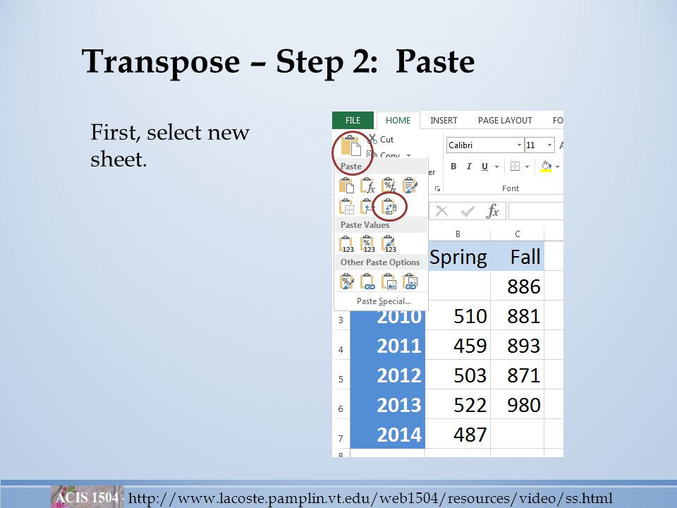 Transpose – Step 2: Paste http://www.lacoste.pamplin.vt.edu/web1504/resources/video/ss.html First, select new sheet.