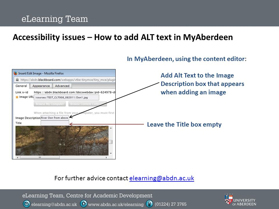 Accessibility issues – How to add ALT text In MS Word and PowerPoint (2010) Right click on image (it may require 2 right clicks) Select: Format Pictur
