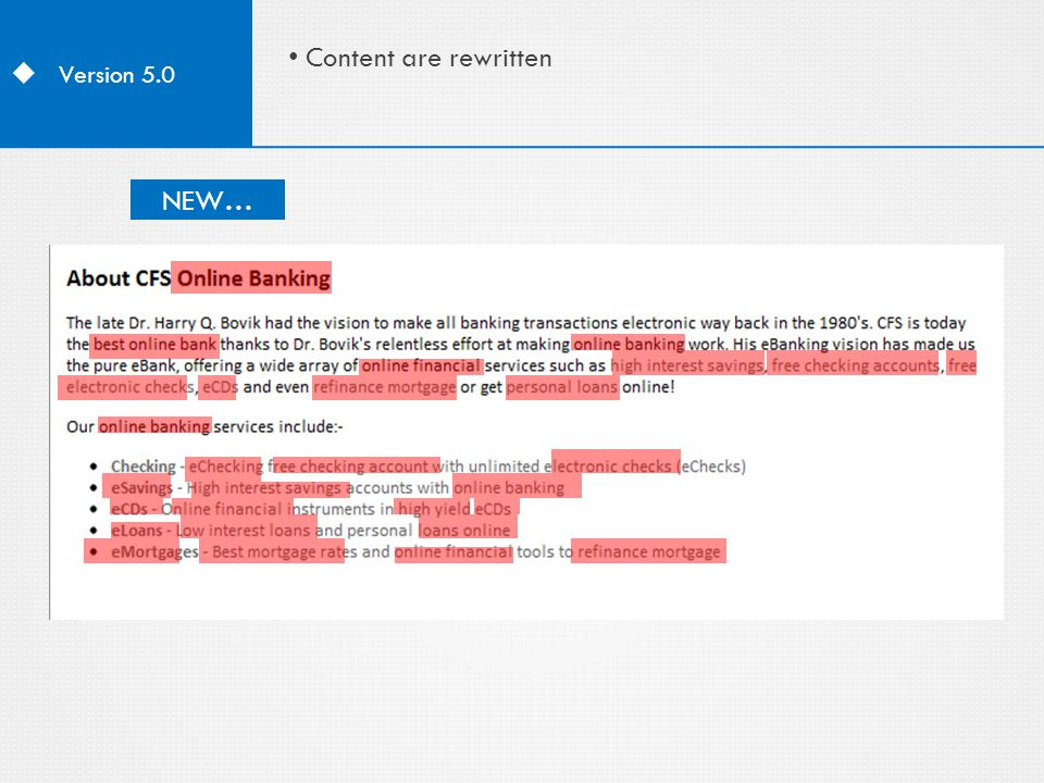  Version 5.0 Content are rewritten Old...NEW…