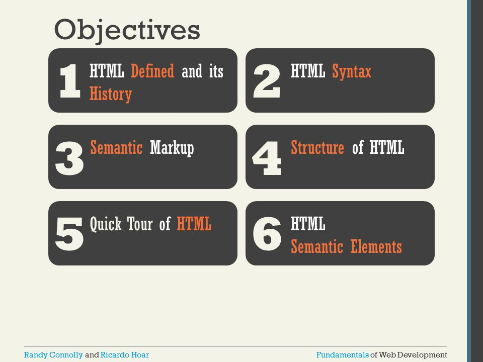 Fundamentals of Web DevelopmentRandy Connolly and Ricardo HoarFundamentals of Web DevelopmentRandy Connolly and Ricardo Hoar Simplest HTML document The element (Item ) is used to provide a broad description of the content.