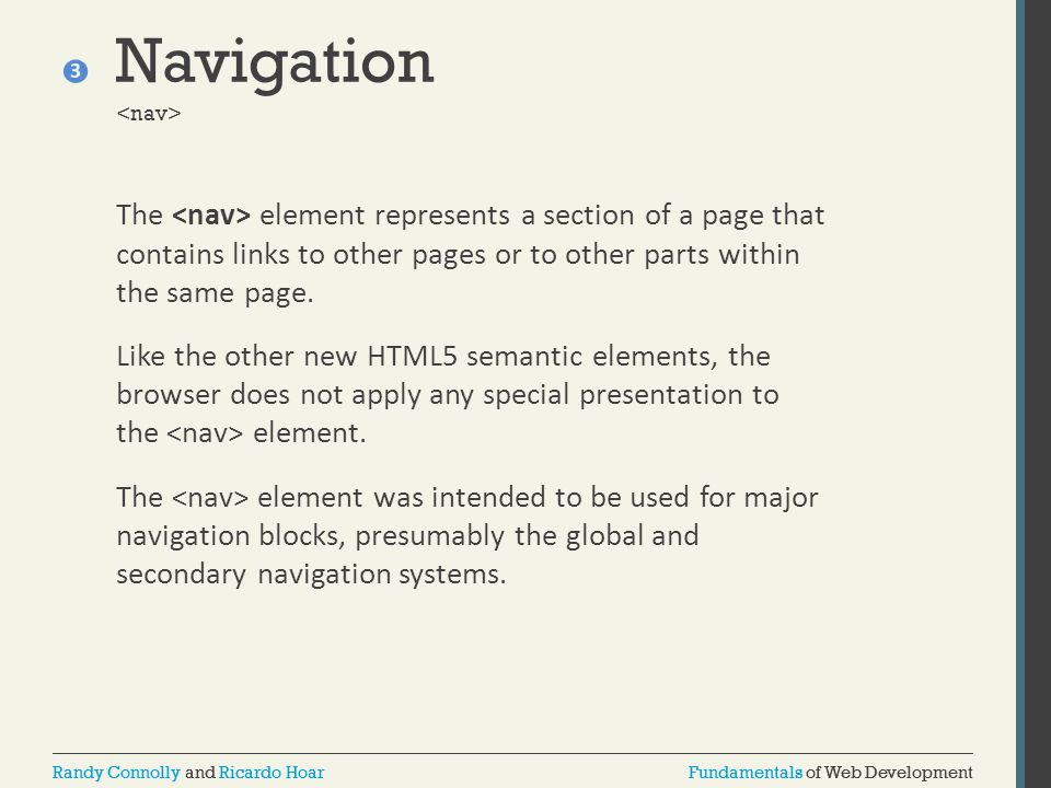 Fundamentals of Web DevelopmentRandy Connolly and Ricardo HoarFundamentals of Web DevelopmentRandy Connolly and Ricardo Hoar Navigation The element re